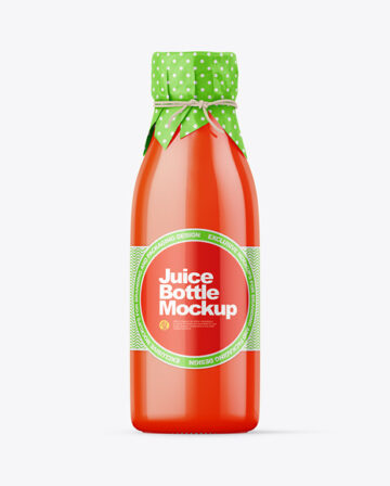 Tomato Juice Bottle With Wrapped Paper Cap Mockup