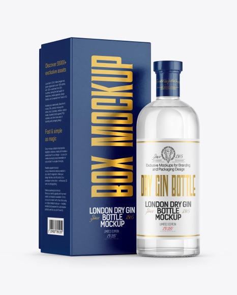 Gin Bottle with Box Mockup