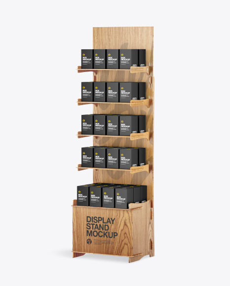 Wooden Display Stand w/ Boxes Mockup