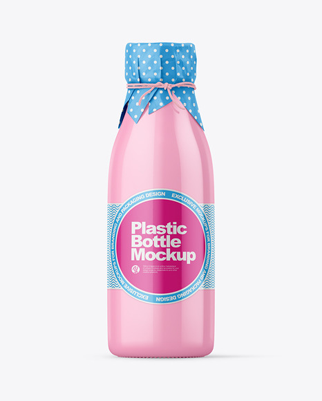 Glossy Plastic Bottle With Wrapped Paper Cap Mockup