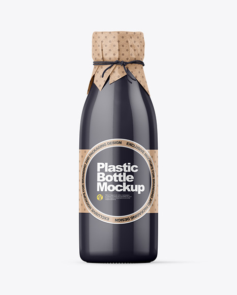 Glossy Plastic Bottle With Wrapped Kraft Paper Cap Mockup
