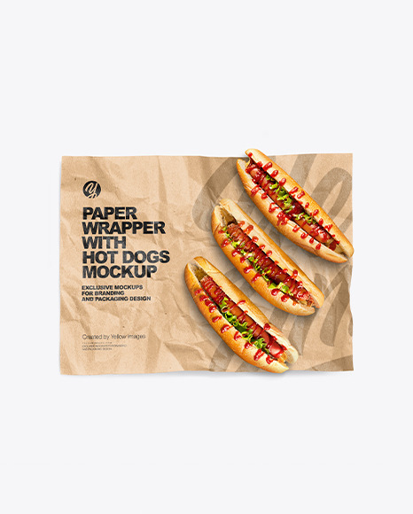 Papper Wrapper With Hot Dogs Mockup