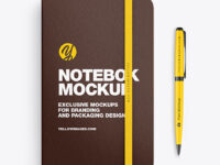 Leather Notebook with Pen Mockup