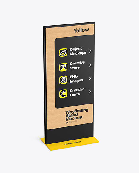 Wayfinding Stand With Wooden Frame Mockup