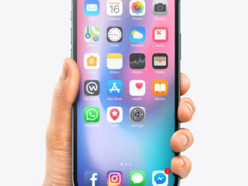 Apple iPhone 12 Pro Max in Hand Mockup