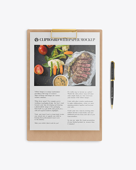 Wooden Clipboard with Pen Mockup