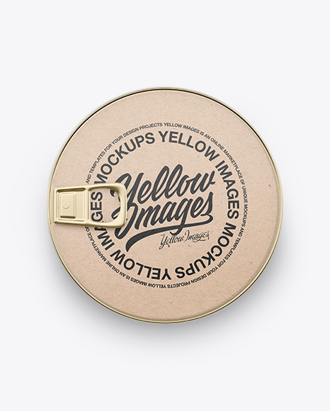 Tin Can With Kraft Paper Label Mockup