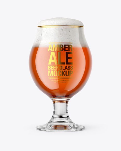 Tulip Glass With Amber Ale Beer Mockup