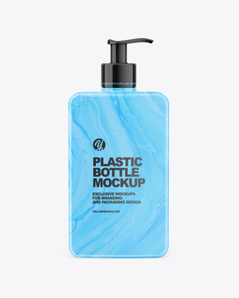 Plastic Square Bottle with Pump Mockup