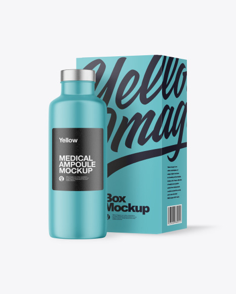 Matte Medical Ampoule with Box Mockup