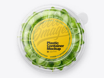 Paper Container With Salad & Transparent Cap Mockup