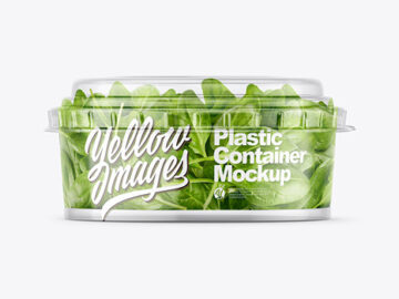 Clear Plastic Container with Salad Mockup