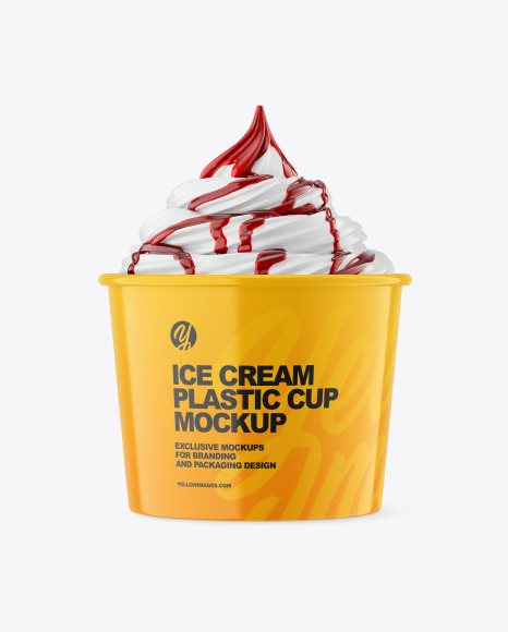 Ice Cream Glossy Cup w/ Berry Topping Mockup