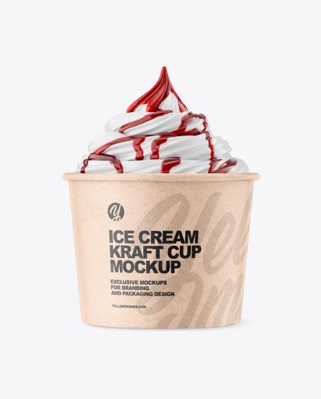 Ice Cream Kraft Cup w/ Berry Topping Mockup