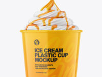 Ice Cream Glossy Cup w/ Caramel Topping Mockup