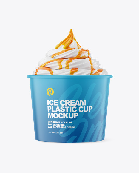 Ice Cream Matte Cup w/ Caramel Topping Mockup