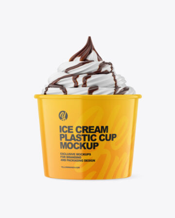 Ice Cream Glossy Cup w/ Chocolate Topping Mockup