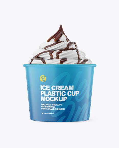 Ice Cream Matte Cup w/ Chocolate Topping Mockup