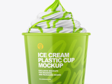 Ice Cream Glossy Cup w/ Topping Mockup