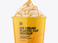 Ice Cream Glossy Cup Topping Mockup