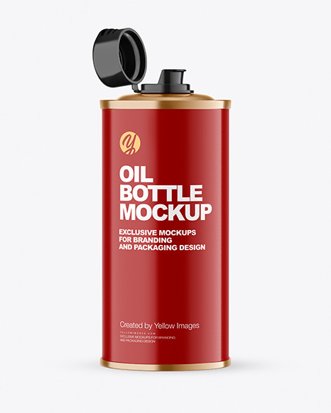 Olive OIl Tin Can w/ Glossy Finish Mockup