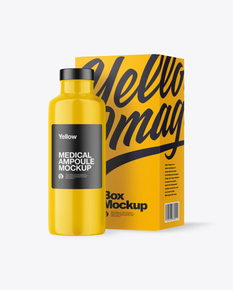 Glossy Medical Ampoule with Box Mockup