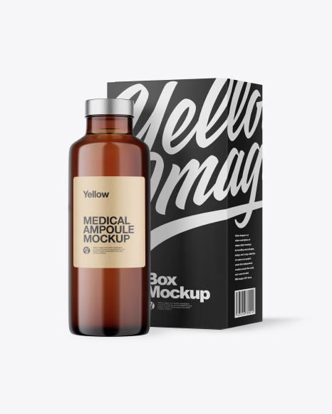 Amber Medical Ampoule with Box Mockup