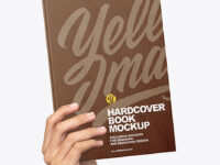 Leather Hardcover Book in a Hand Mockup