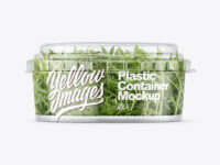 Clear Plastic Container with Arugula Salad Mockup