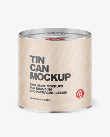 Tin Can with Kraft Label Mockup