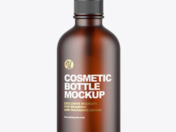 Frosted Amber Glass Cosmetic Bottle Mockup