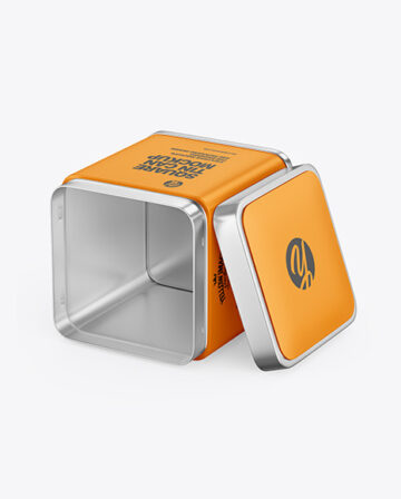 Opened Matte Tin Can Mockup