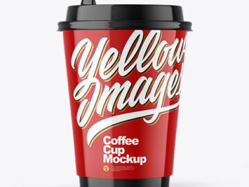 Glossy Paper Coffee Cup Mockup