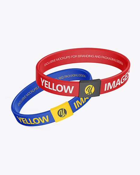 Two Textile Fabric Wristbands Mockup