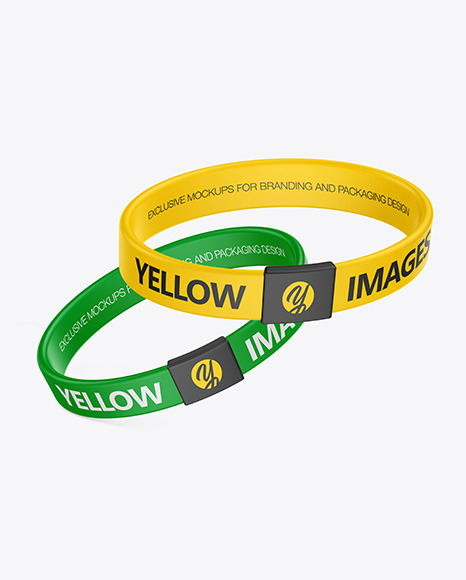 Two Silicone Wristbands Mockup