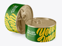 Two Glossy Tin Cans Mockup