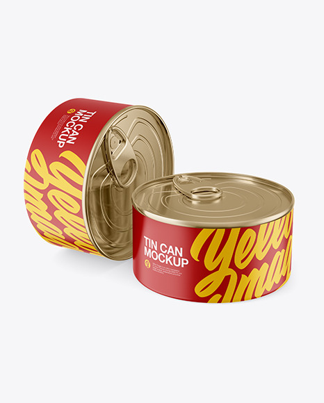 Two Matte Tin Cans Mockup