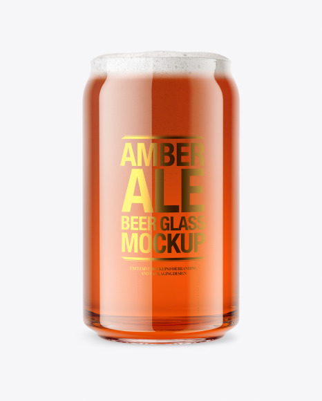 Can Shaped Glass  w/ Amber Ale Beer Mockup