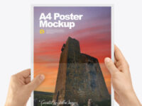 A4 Paper in a Hand Mockup