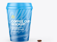 Cofee Cup With Beans Mockup