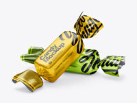 Candies in Metallic Wrapping Mockup