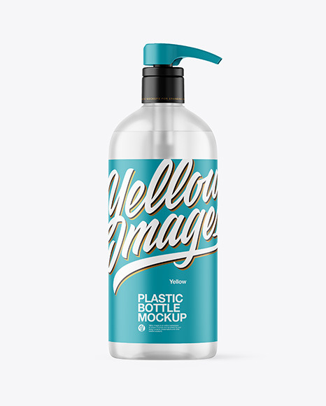 Frosted Clear Bottle with Pump Mockup