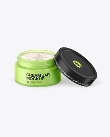 Opened Frosted Colored Glass Cream Jar Mockup