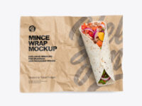 Papper Wrapper With Mince Wrap Mockup