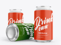 Three Aluminium Drink Cans With Matte Finish Mockup