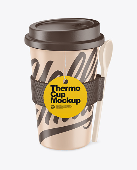 Thermocup With a Spoon Mockup