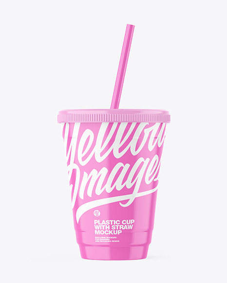 Glossy Plastic Cup with Straw Mockup