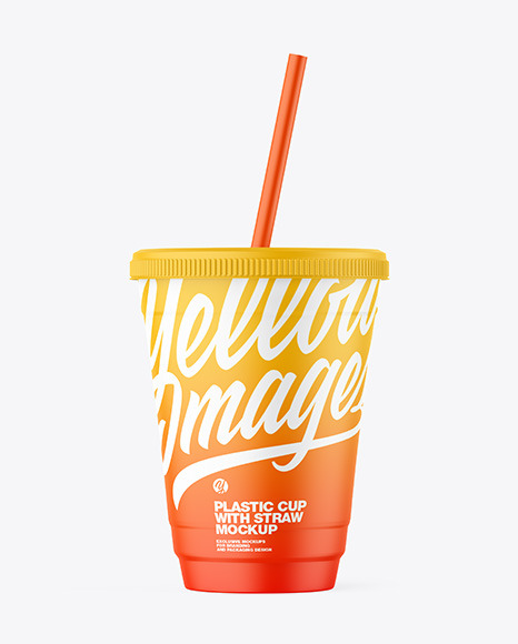 Matte Plastic Cup with Straw Mockup