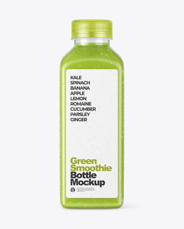 Green Smoothie Bottle with Condensation Mockup