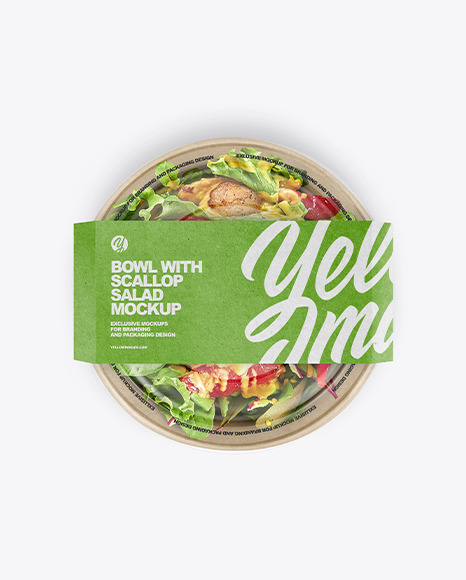 Paper Bowl With Scallop Salad Mockup